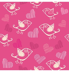 Romantic seamless pattern with stylized bird and vector image
