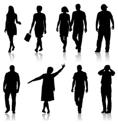 Set black silhouettes of beautiful man and woman vector
