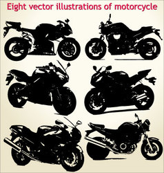 Silhouettes motorcycle vector