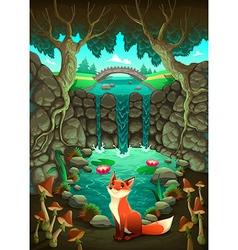 The fox near a pond vector