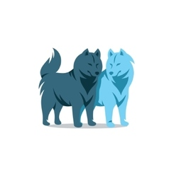 Two Husky Dog Cartoon vector image