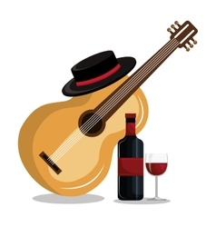 wine bottle with guitar isolated icon design vector image