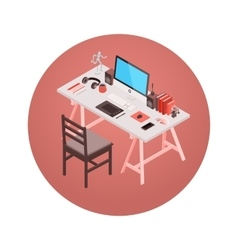 Isometric designer workplace vector