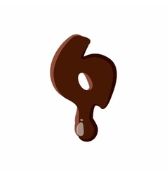 Number 6 from latin alphabet made of chocolate vector
