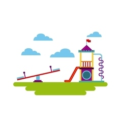 Beautiful children playground icon vector