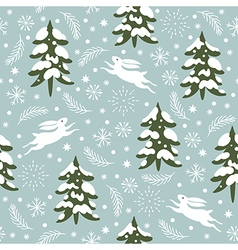 Seamless christmas pattern snow covered trees vector