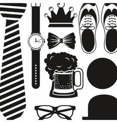 Shoes hat glasses necktie watch and beer design vector
