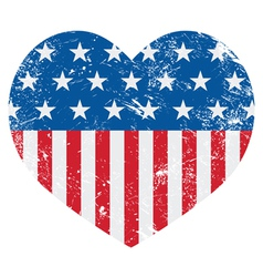 USA America retro heart flag - vector image