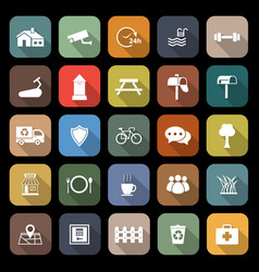 Village flat icons with long shadow vector