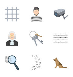 set of images about the prison and prisoners vector image