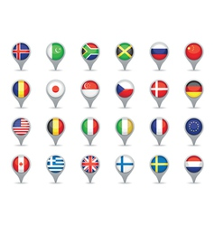 world flag pointers vector image
