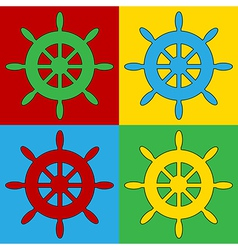 Pop art steering wheel icons vector