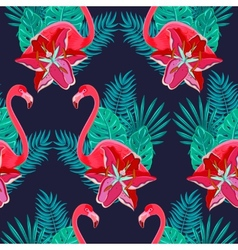 Flamingo lilies colorful seamless pattern vector