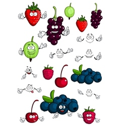 Healthy berries and fruits characters vector