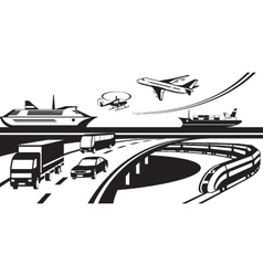 Passenger and cargo transportation scene vector