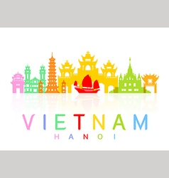 Vietnam travel landmarks vector