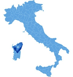 Map of italy nuoro vector
