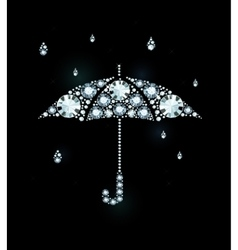 Diamond umbrella and rain drops vector