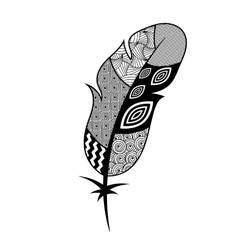 Patterned black and white feather vector image
