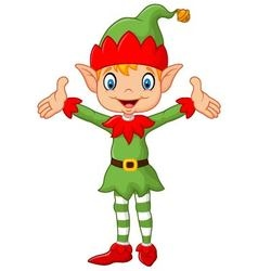 Cute green elf boy costume hands up vector