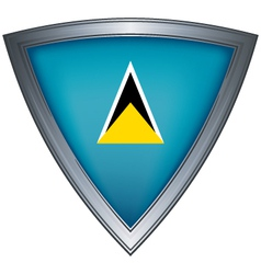 Steel shield with flag saint lucia vector
