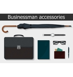 Businessman stuff and accessories icons set vector