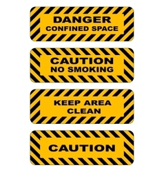 Industrial striped road warning yellow-black vector