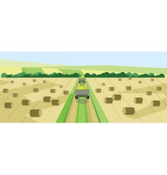 Abstract landscape with harvesting vehicles vector