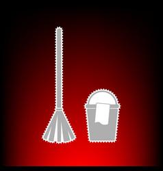 broom and bucket vector image vector image