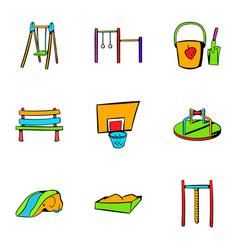 children playground icons set cartoon style vector image vector image