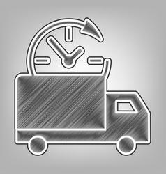 delivery sign pencil sketch vector image