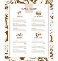 fast food - color hand drawn vintage template menu vector image vector image