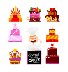 flat cakes collection with confectioner vector image vector image