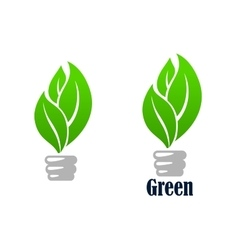 Green light bulb with leaves vector