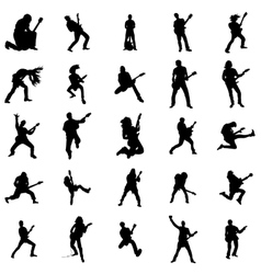 Guitarist silhouette set vector image vector image