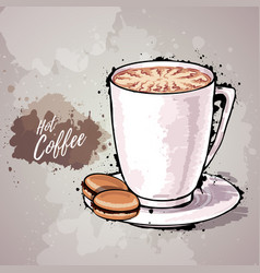 hand drawn of cup of coffee or hot chocolate vector image