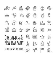 icons set - winter christmas holiday party vector image vector image