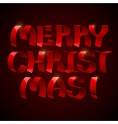 Isolated 3d shiny red ribbons Merry Christmas text vector image