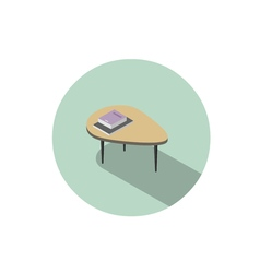 Isometric of modern coffee table with book and vector