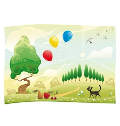 Landscape with cat vector