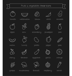 Line art vegetables icons set chalk vector