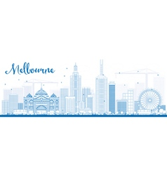 Melbourne skyline with blue buildings vector