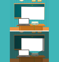 multimedia projector presenting the classroom vector image