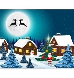 Night christmas forest landscape santa claus with vector