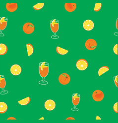 Orange with peel glass of juice and orange slice vector