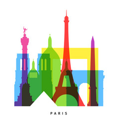 paris landmarks bright collage vector image vector image