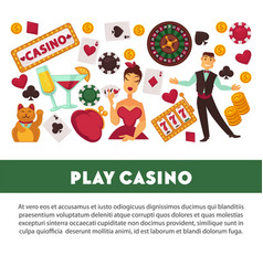 play casino promotional poster with equipment for vector image vector image