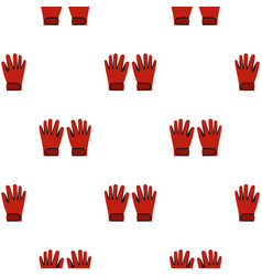 Red winter ski gloves pattern seamless vector