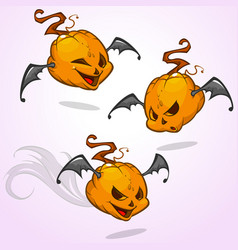 set of cartoon pumpkin heads vector image vector image