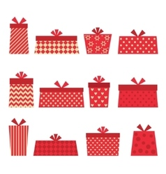Set of red presents vector image vector image